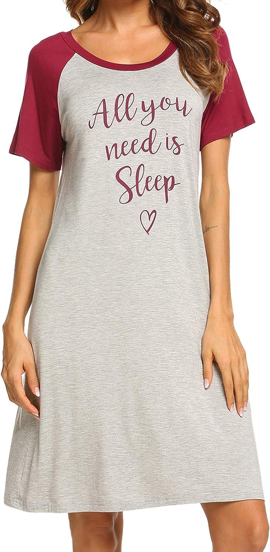 Ekouaer Womens Nightgowns Short Sleeve Sleepwear Printed Night Dress Cute Nightshirts S-XXL