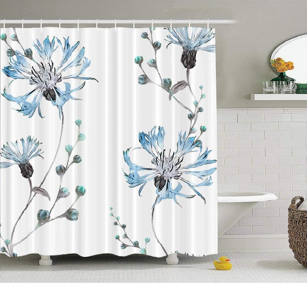 Blue White Shower Curtain Wildflowers Blooms Print for Bathroom