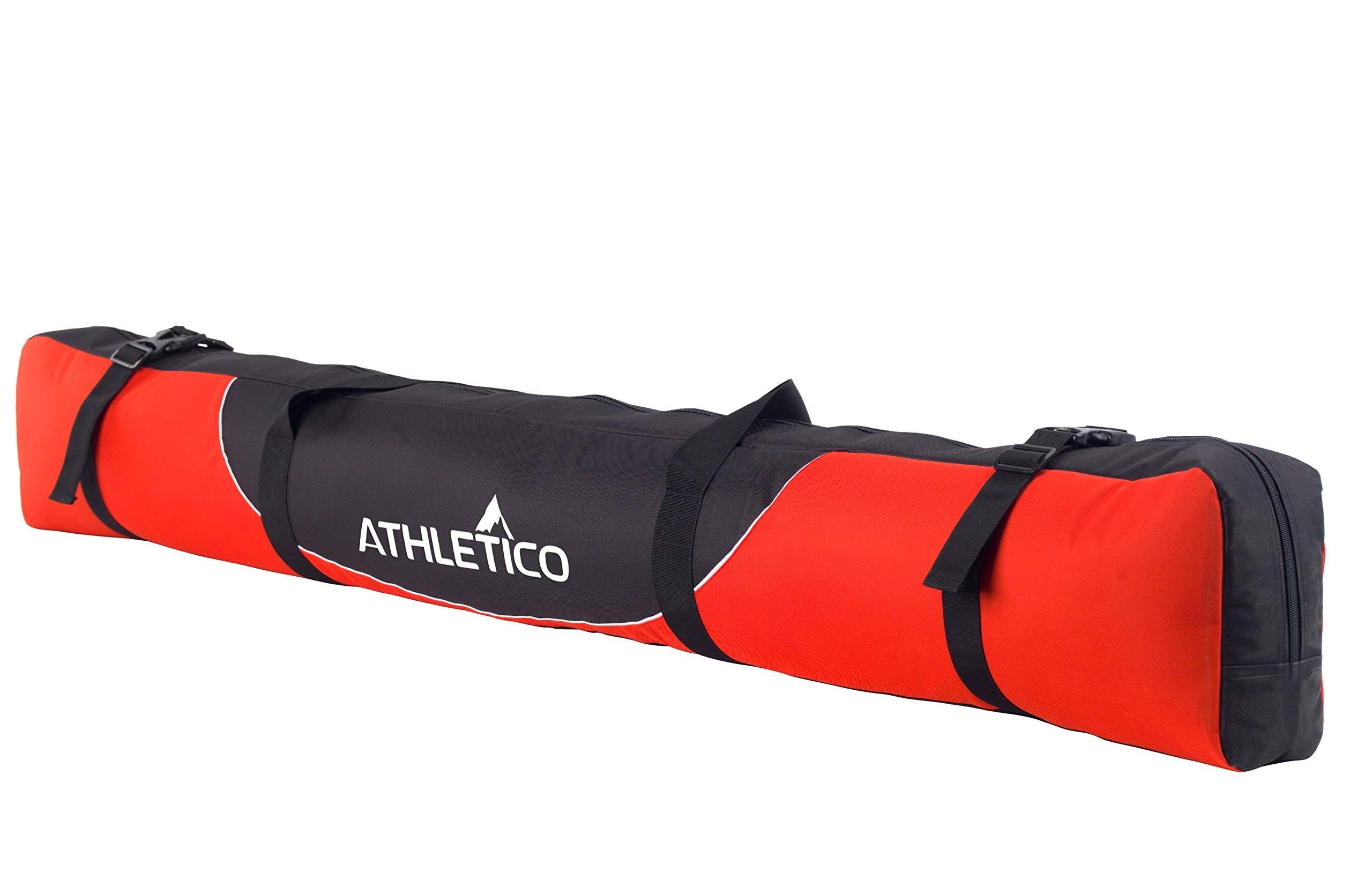 Athletico Mogul Padded Ski Bag - Fully Padded Single Ski Travel Bag (Red, 170cm) by Athletico
