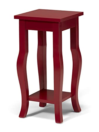 Kate and Laurel Lillian Wood Pedestal End Table Curved Legs with Shelf, Red