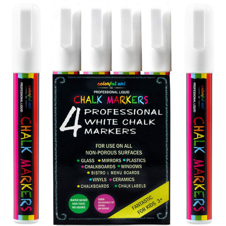 Favorit Colorful Art WEIßE KREIDE STIFTE & MARKER 4er Pack Perfekt für KA47