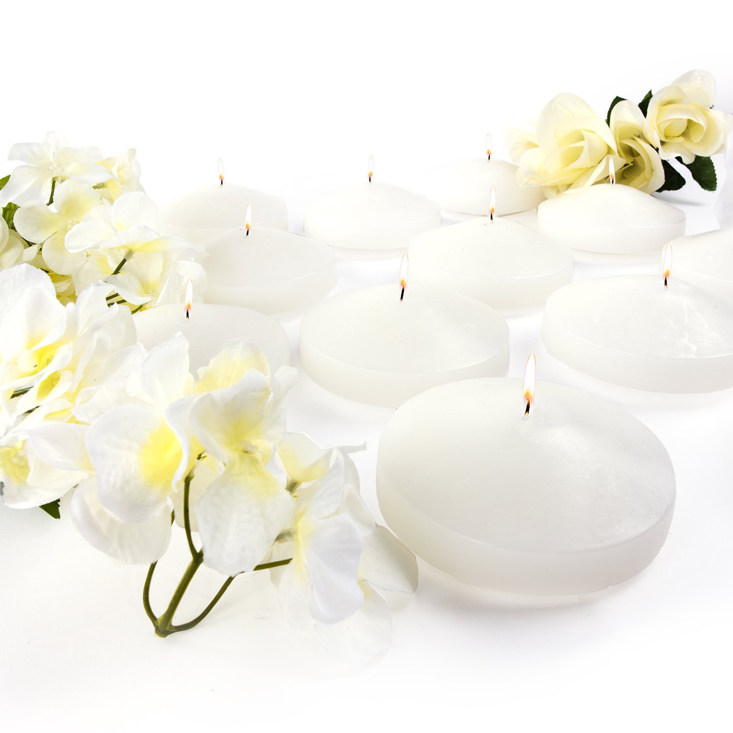 3.25'' White Unscented Dripless Floating Tealight Shape Candles Set (24 Pack) by Super Z Outlet