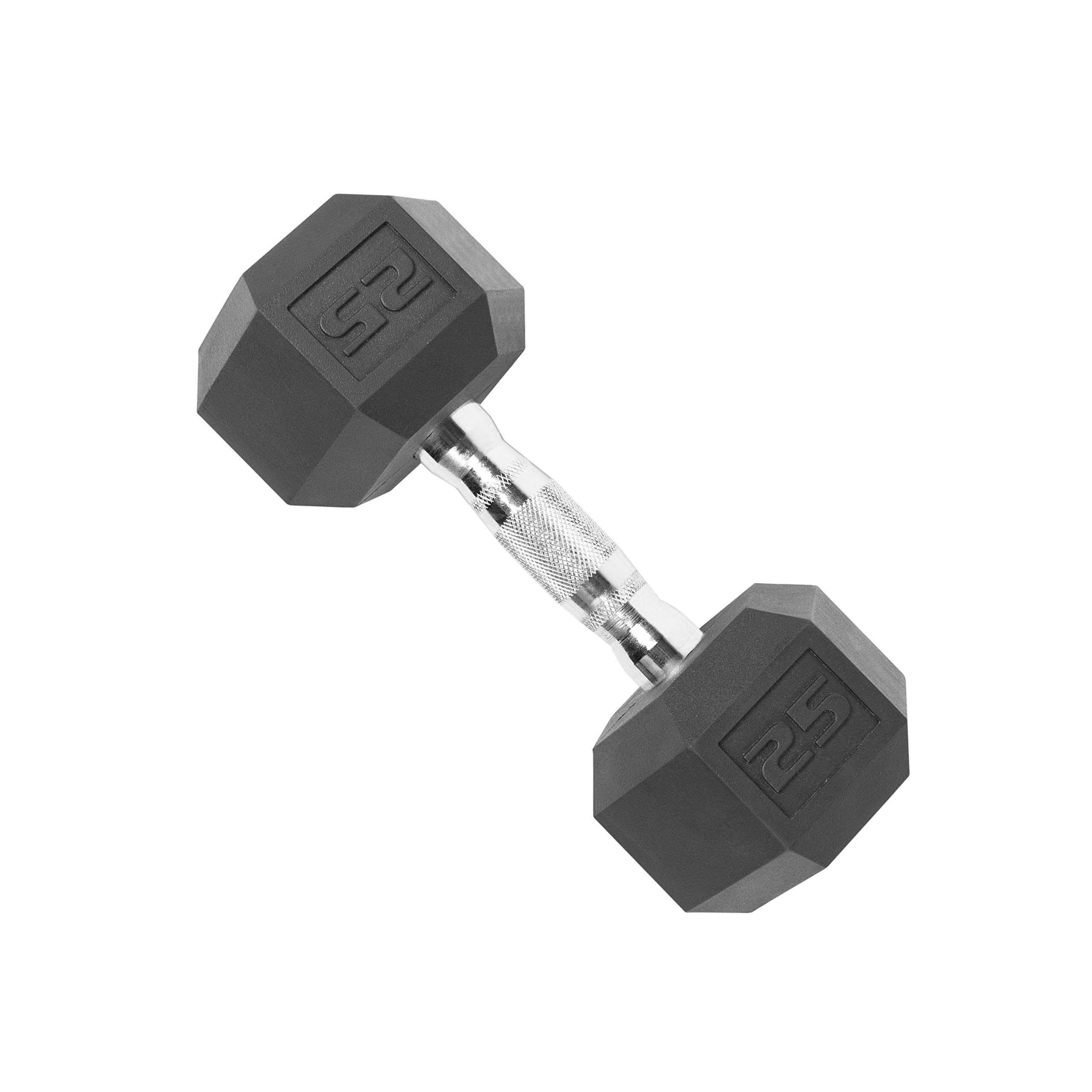 CAP Barbell SDR-025 Rubber Coated Hex Dumbbell with Contoured Chrome Handle (25-Pound), Black