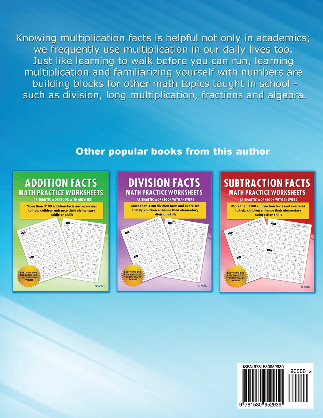 Multiplication Facts Math Worksheet Practice Arithmetic Workbook ...
