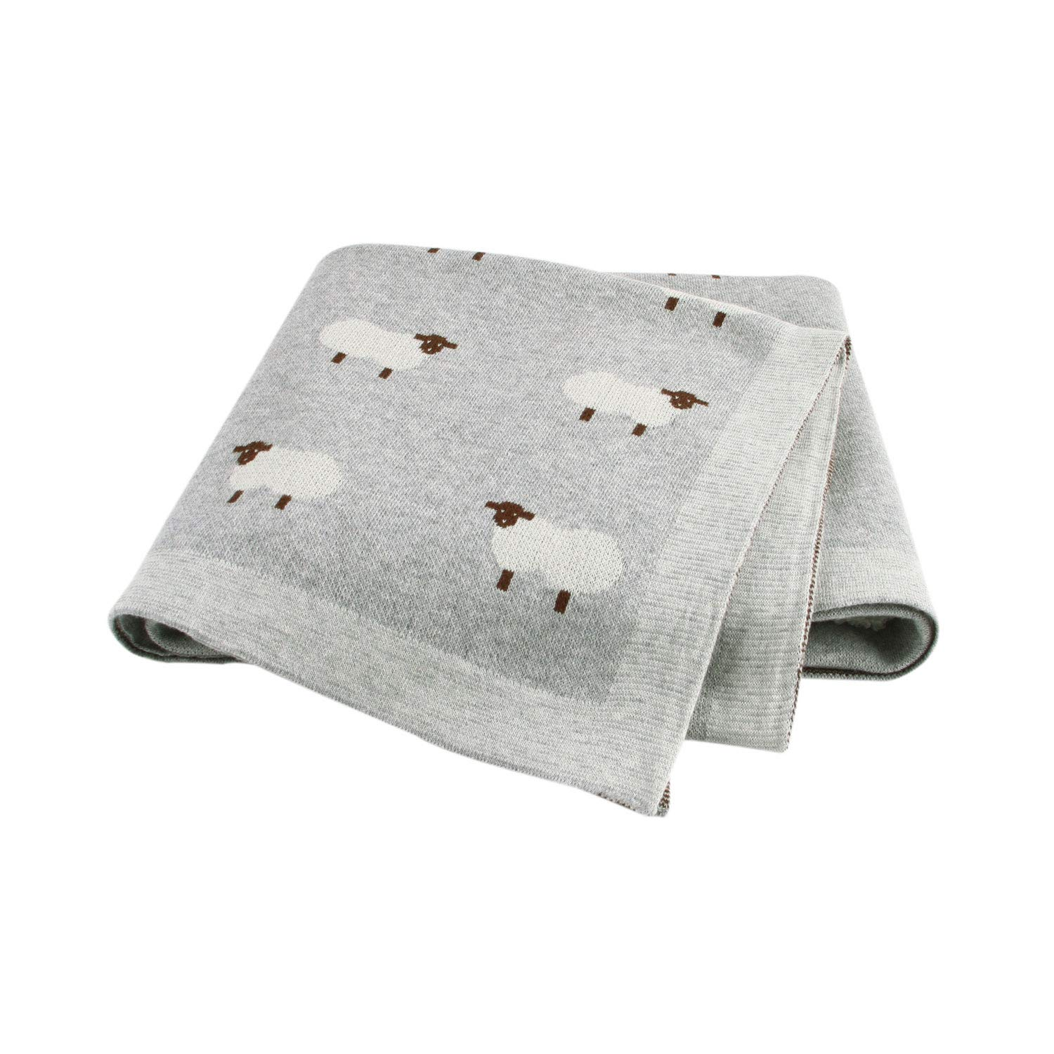 mimixiong Baby Blanket Knit 100% Cotton Toddler Blankets for Boys and Girls Swaddle Stroller with Cute Sheep Grey Size 30 x 40 inches