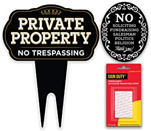 SignDuty Private Property No Trespassing DiBond Metal Yard Sign + No Soliciting Door Sign w/Double Sided mounting Strip for Home & Business (2)