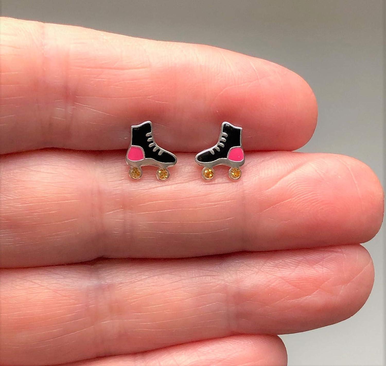 Design repr/ésentant un patin /à roulettes Bleu et rose Boucles d/'oreilles En argent sterling Cadeau