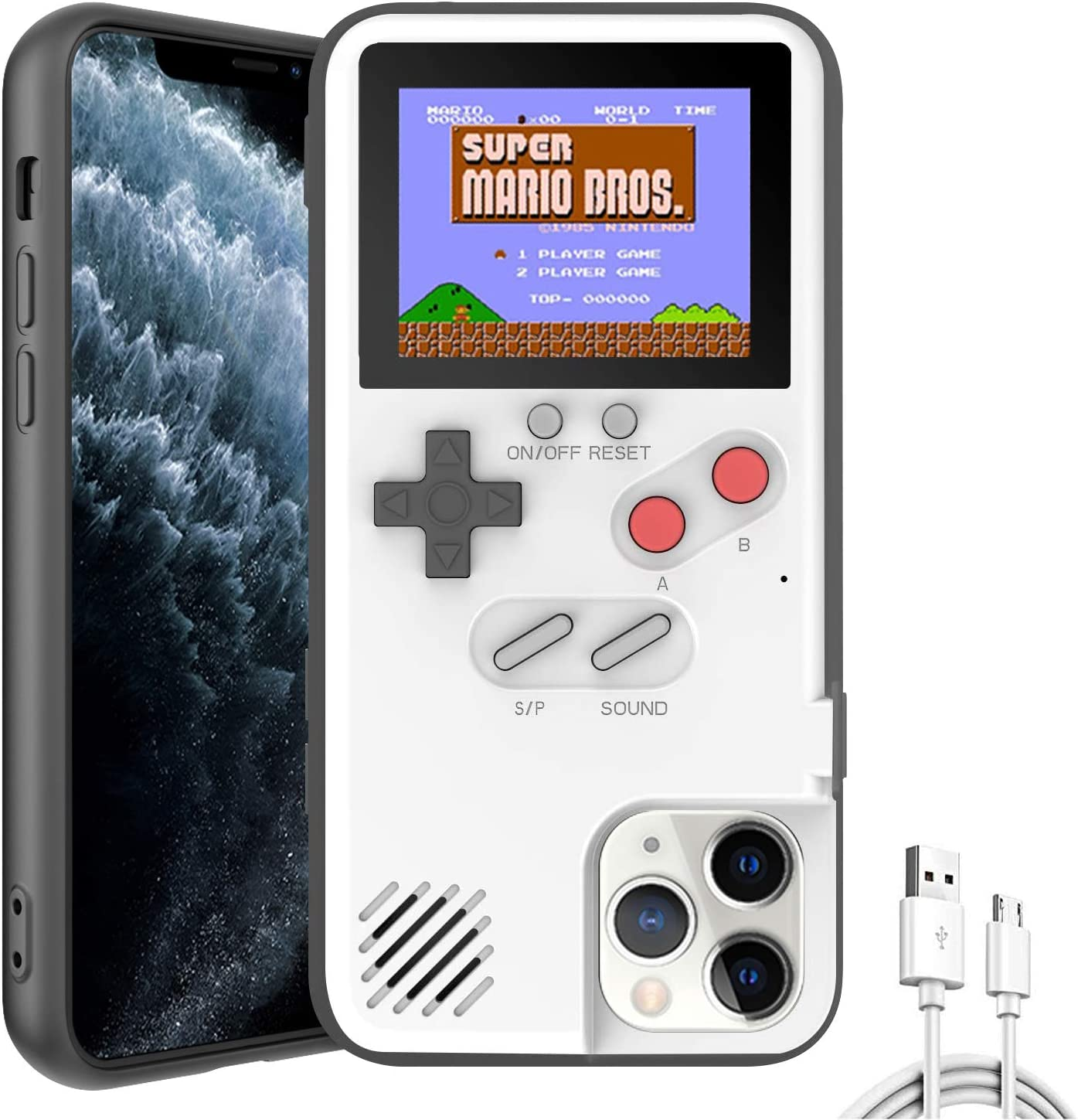 Autbye Gameboy Case for iPhone, Retro 3D Design Style Silicone Protective Case with 36 Small Games, Color Display Shockproof Video Game Phone Case (for iPhone 11 Pro, White)