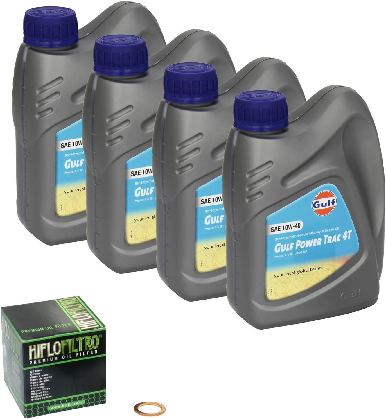 Gulf Power Trac 10w 40 Ölwechsel Set Suzuki Bandit 1200 Gsf 1200 Bj 96 06 Motoröl Hiflo Ölfilter Und Dichtring Auto