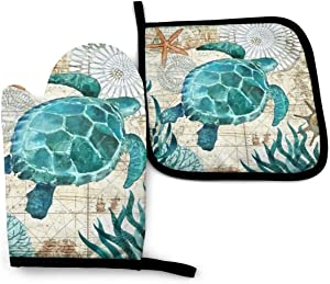 KZEMATLI Marine Life Theme Sea Turtle Heat Resistant Oven Mitts + 1 Cotton Pot Holders Non Slip Oven Gloves for Kitchen Cooking Baking, BBQ