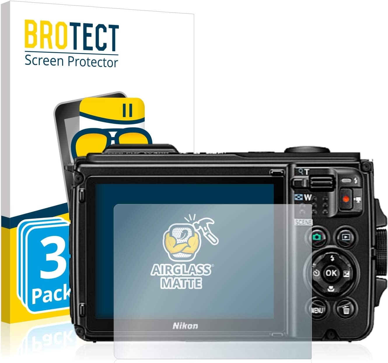 3 Pack brotect Anti-Glare Glass Screen Protector compatible with Nikon Coolpix W300 9H Glass Protector Matte