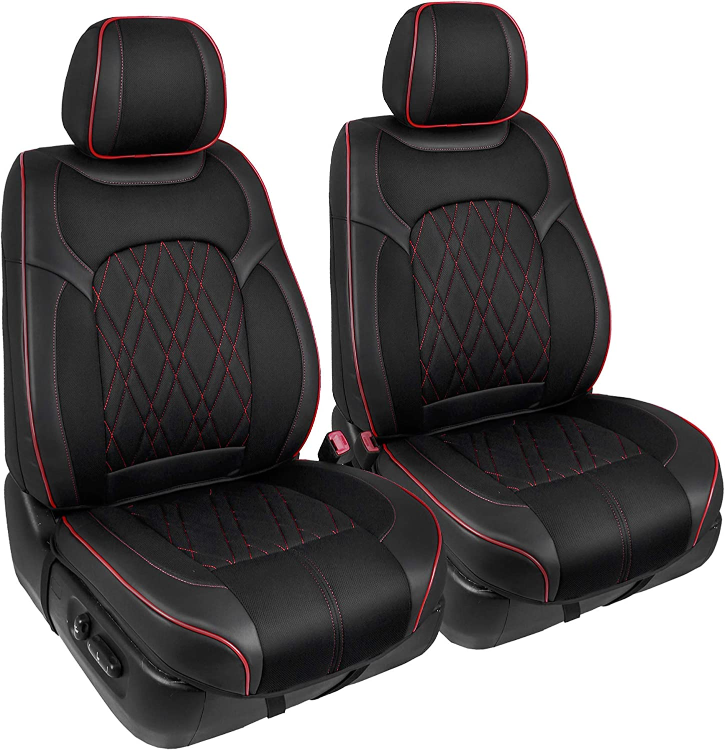 Universal Fit for Cars Truck Van SUV Season Guard Traveler Automotive Car Seat Covers Black with Red Accent 3D Semi-Custom Luxury Faux Leather