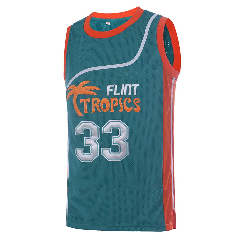 4a842428e9587 Amazon.com  TUEIKGU Mens 33 Flint Tropics Jersey Jackie Moon Basketball  Jersey S-XXL Green White  Clothing