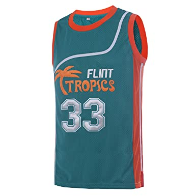 6113b85e9 TUEIKGU Mens 33 Flint Tropics Jersey Jackie Moon Basketball Jersey S-XXL  Green White