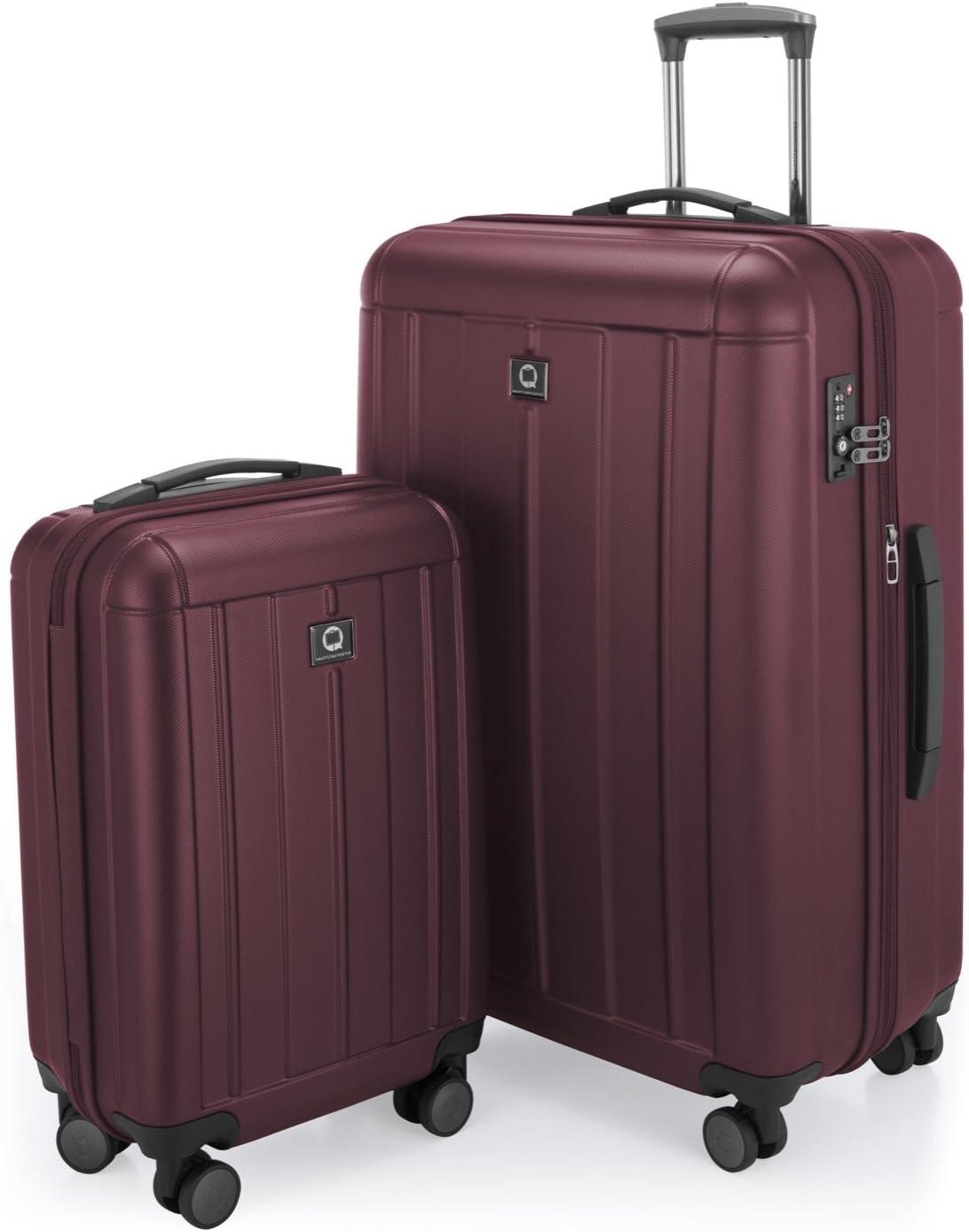 HAUPTSTADTKOFFER - Kotti - Maletas de viaje, Juego de 2 piezas ( 56 cm, 76 cm) TSA, 4 rudeas, Borgoña