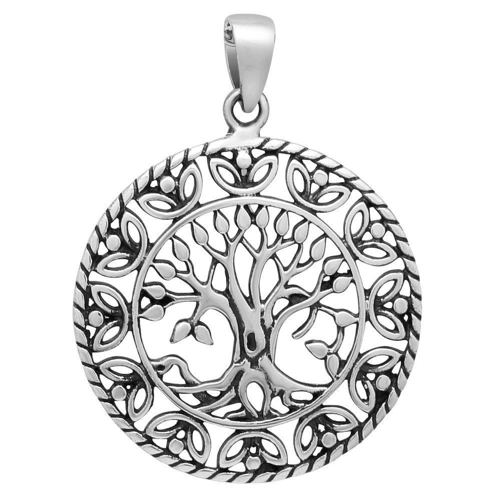 schmuxxi Weltenbaum Lebensbaum Yggdrasil Anhänger 925 Silber (Durchmesser 24mm) Silver 2013-6282