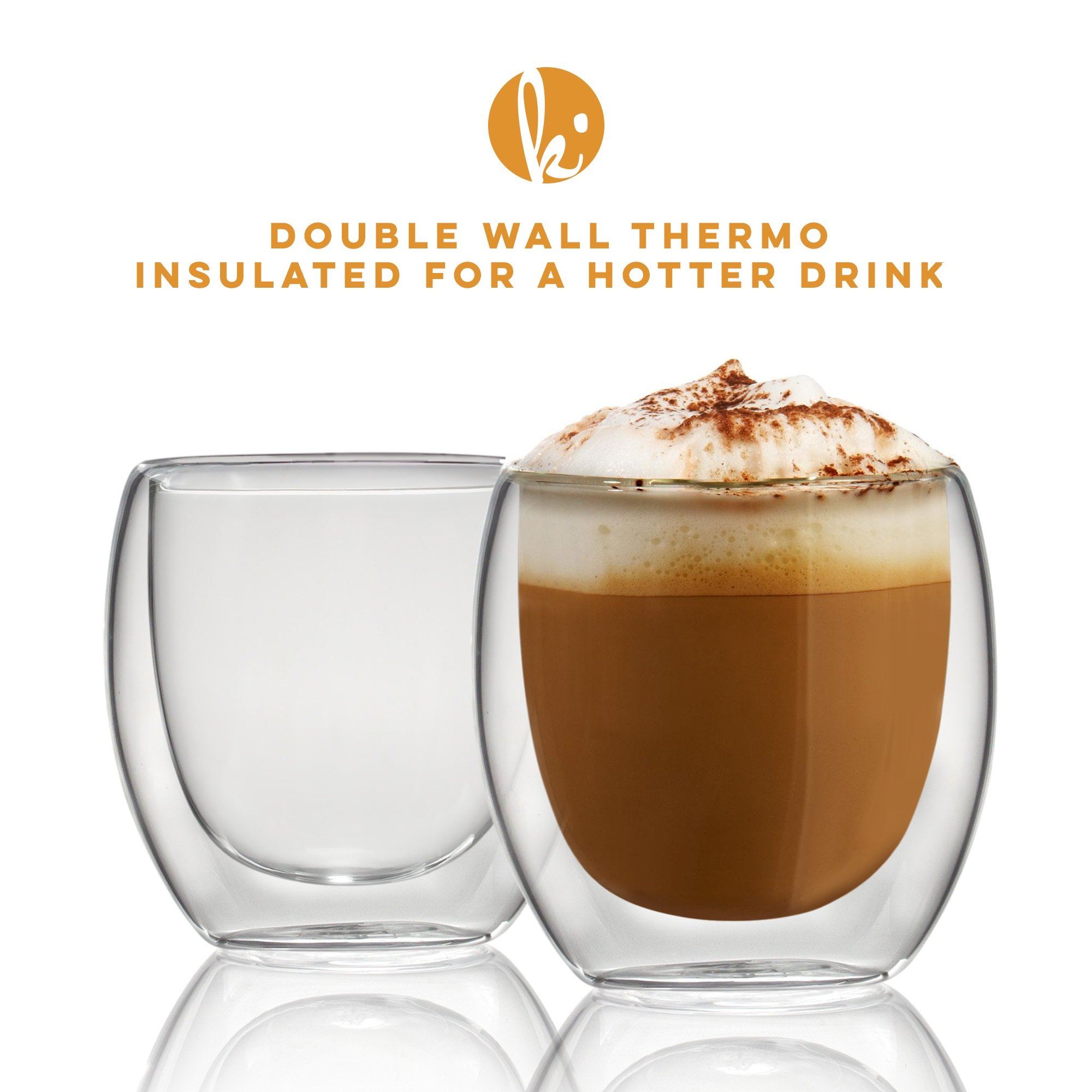 Espresso Cups Shot Glass Coffee Set of 4 - Double Wall Thermo Insulated by Kitchables (Image #4)
