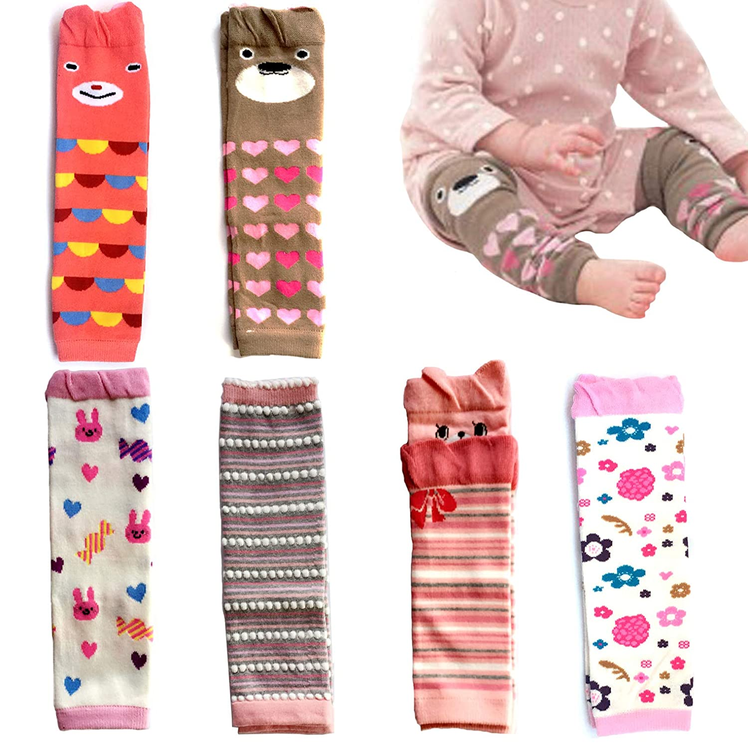 Stripes Pink Heart-shaped Dots Elesa Miracle 6-pack Baby /& Toddler Cozy Soft Leg Warmers Gift Set for Boys /& Girls