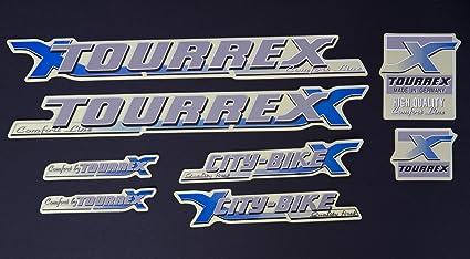 Fahrrad Rahmen Aufkleber Schriftzug Frame Sticker Set Decal Tourrex Bike Design Siber Blau Sport Freizeit