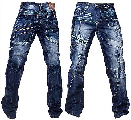 Kosmo Lupo Herren Jeans Hose Verwaschen Vintage Nieten