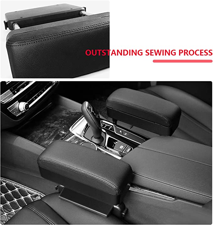 R RUIYA Armrest Box Protector for Universal Auto Car Center Console Armrest Extender General Motors Elbow /& Forearm Wrist Rest Support Adjustable Height Comfort Pads with Black Line