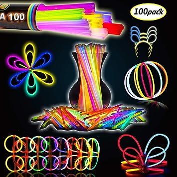 MEIRUIER Solamente 100 Varitas Luminosas y 100 Conectores Reutilizables Varitas Luminosas Fluorescentes Pulseras Luminosas para Fiestas Formar Pulseras (100pcs(Colour)): Amazon.es: Juguetes y juegos
