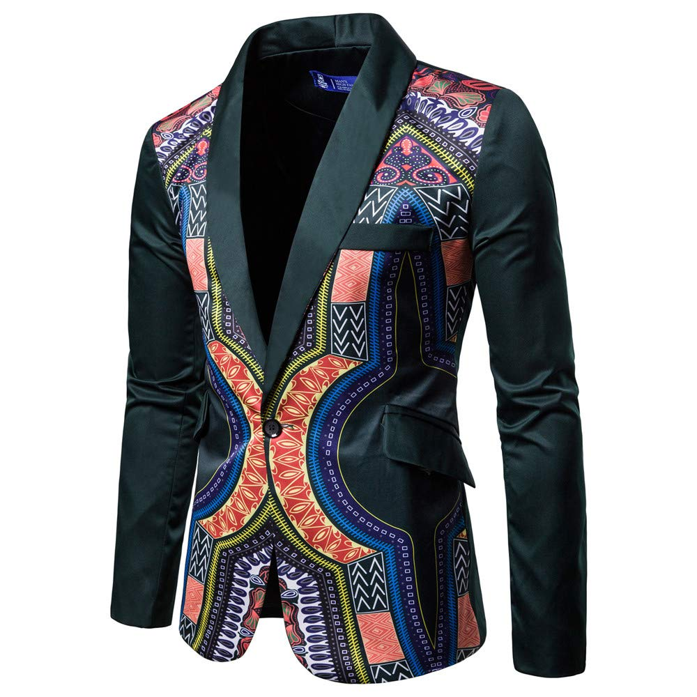 Hmlai Mens Fashion Blazer African Print Dashiki Slim Fit Jacket Sport Coat Business Dress Suit at Amazon Mens Clothing store: