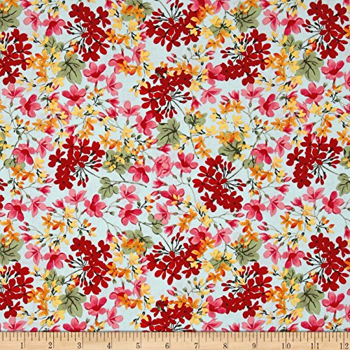 (Penny Rose Farmhouse Floral Blue Fabric by The Yard)