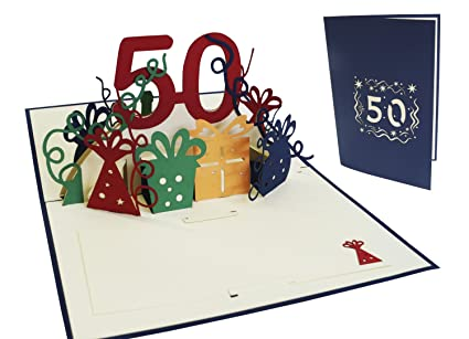 Amazon.com : LIN - Pop Up 3D Greeting Card for 50th Birthday ...