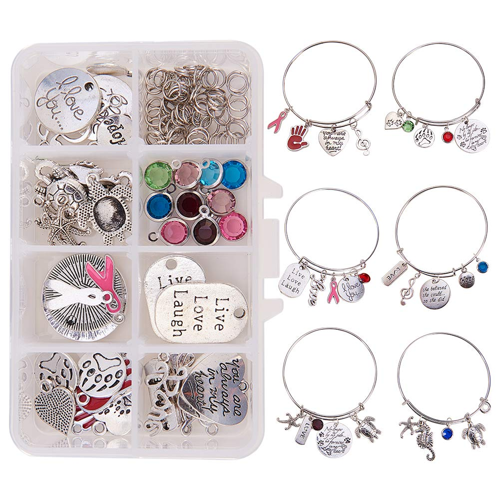 SUNNYCLUE 1 Box DIY 6PCS Expandable Wire Charm Bracelet Jewelry Making Starter Kit Include 2.6inch 65mm Mixed Charm Pendant Beads Jewelry Findings for Women Girls Adults Blank Adjustable Bangle