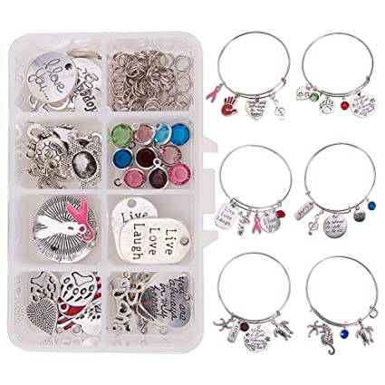 Amazoncom Sunnyclue 1 Box Diy 6pcs Expandable Wire Charm Bracelet