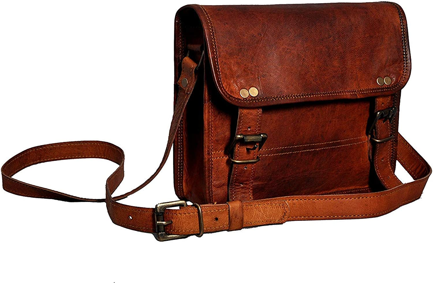 L_A 11 INCH Leather Messenger Ipad, Tablet Everyday Satchel Mini Laptop Bag for Men & Women Brown