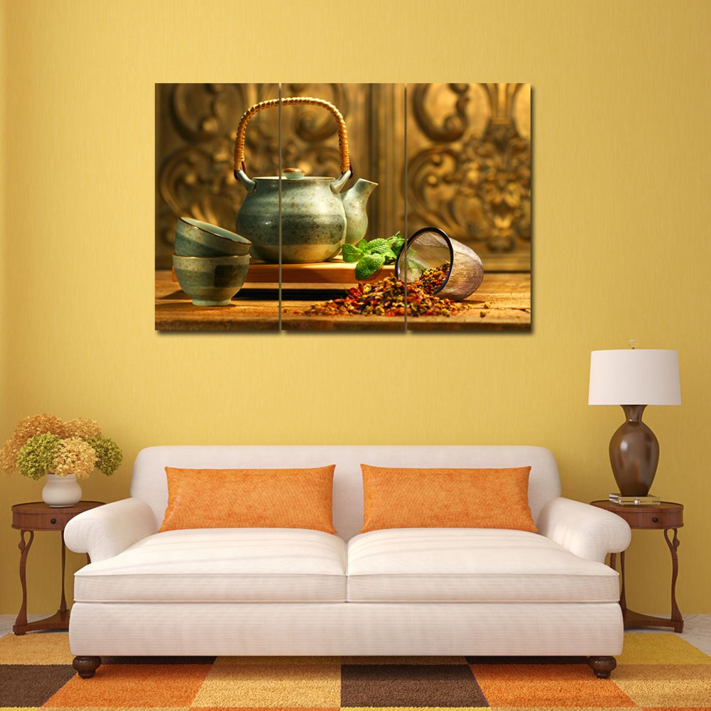 Amazon.com: Colorful Tea With Teapot Wall Art Painting Print On ...