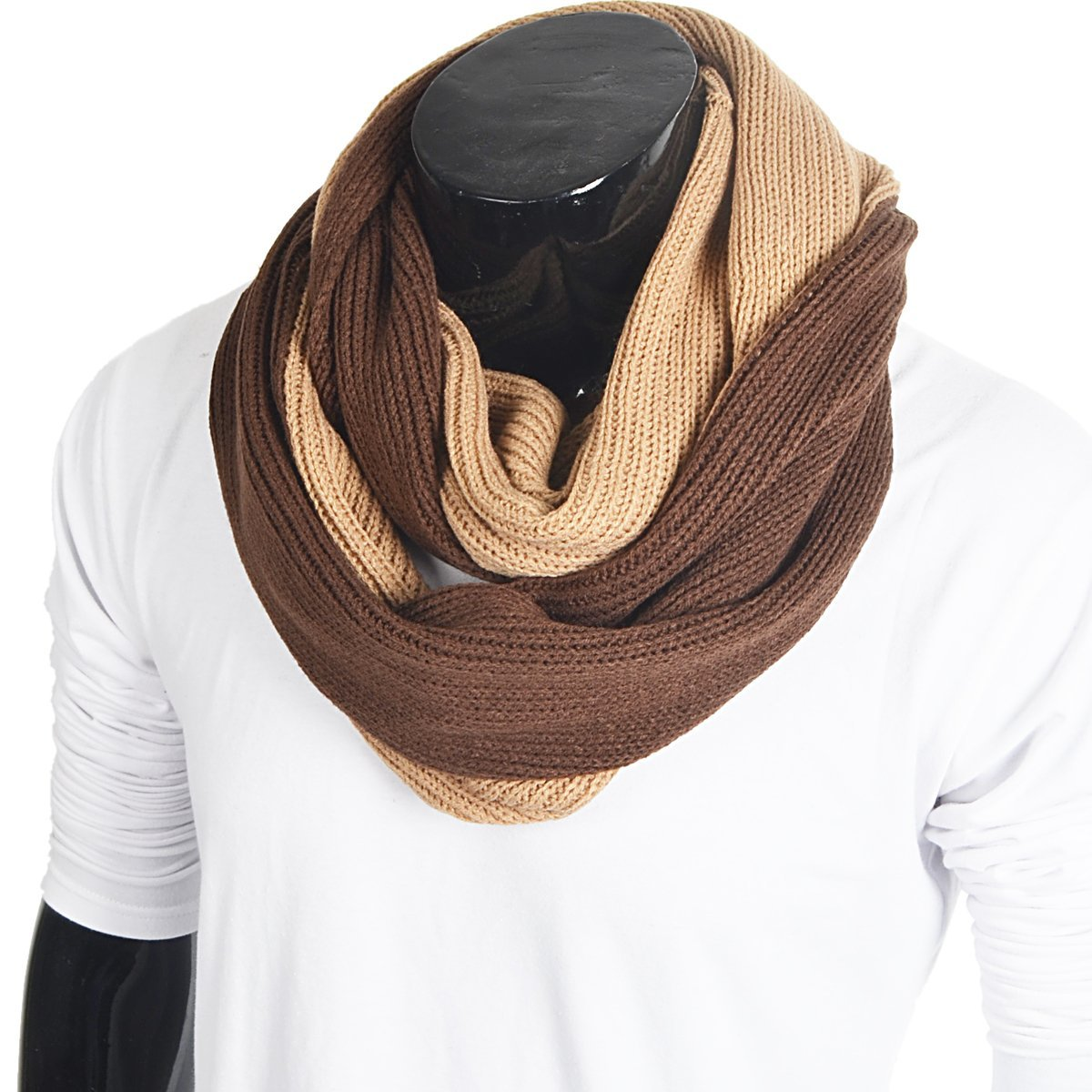 FORBUSITE Stylish Men Cable Soft Knit Infinity Scarf for Winter Army Green E5041b-Green