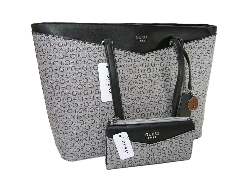 New Guess G Logo Purse Large Tote Hand Bag & Wallet 2 Piece Set Black Gray