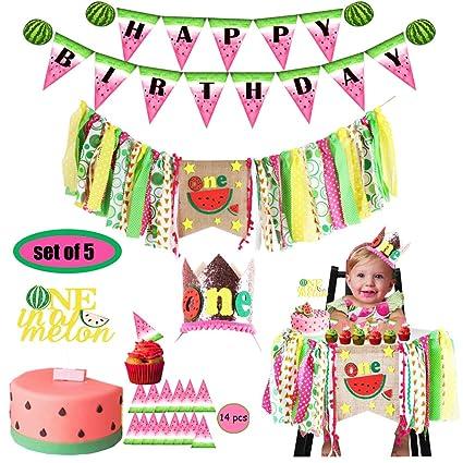 Amazon.com: Decoración de cumpleaños de sandía, pancarta ...