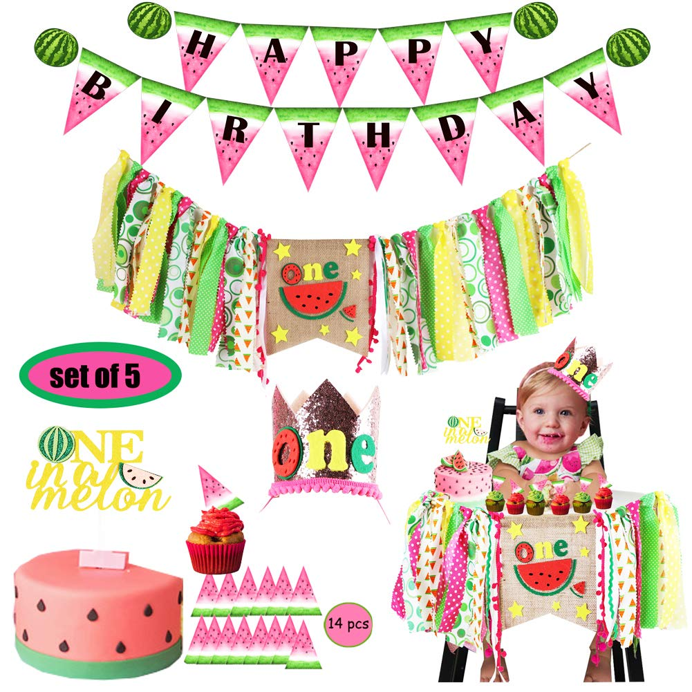 Watermelon Birthday Decoration-Highchair Banner Happy Birthday Banner Crown Hat with One In a Melon Cake Topper for Baby Girl Boy Fruit 1st Birthday Cake Smash Party Supplies (Set of 5)