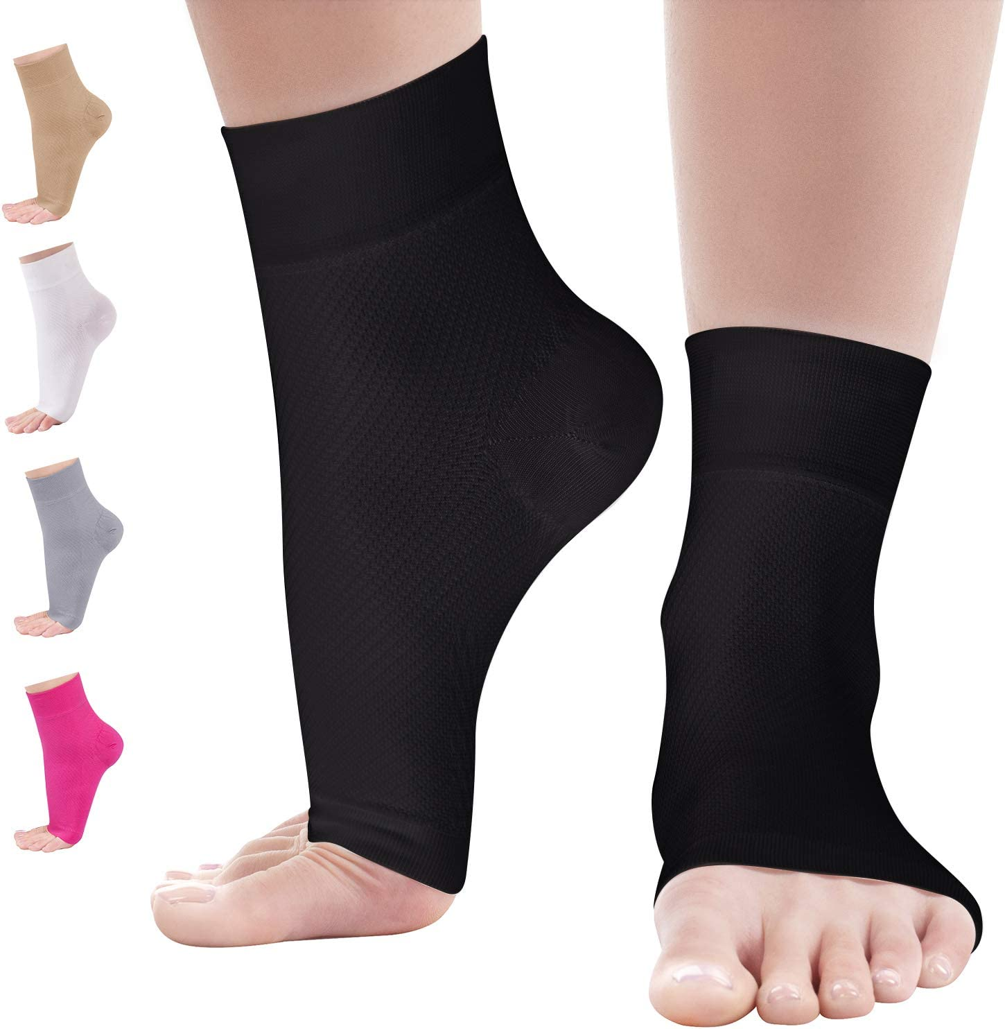 Ankle Compression Sleeve - 20-30mmhg Open Toe Сompression Socks for Swelling, Plantar Fasciitis, Sprain, Neuropathy - Nano Brace for Women and Men