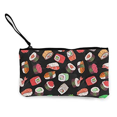 Amazon.com: Sushi Set de estampado de lienzo monedero ...