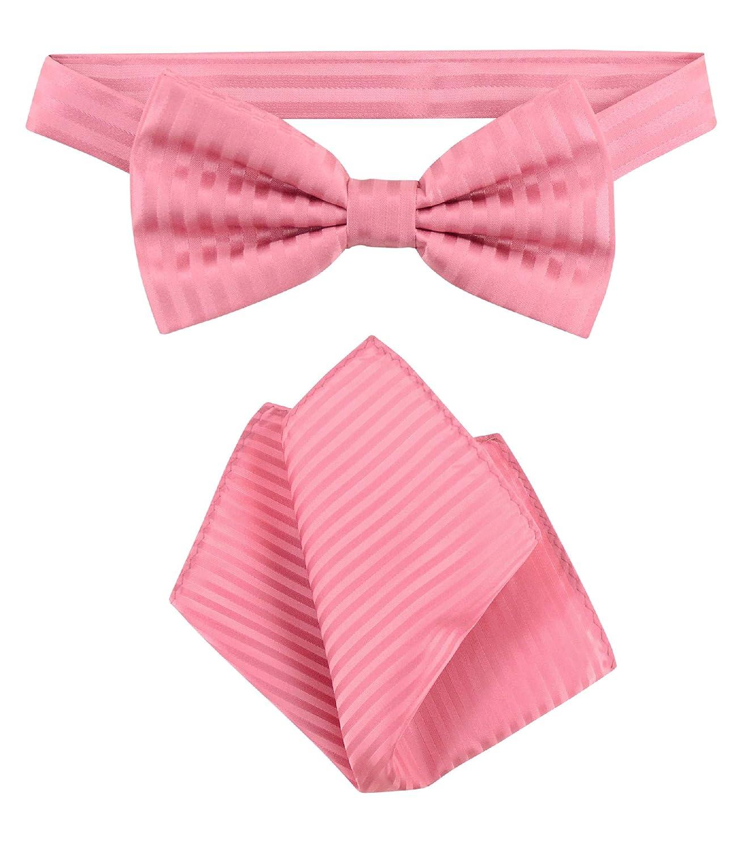 Vesuvio Napoli BowTie Coral Pink Vertical Stripes Mens Bow Tie /& Handkerchief