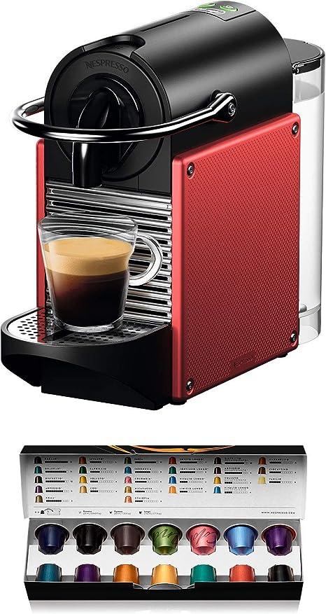 Nespresso DeLonghi Pixie EN124.R Cafetera monodosis cápsulas, 19 Bares, depósito Agua 0.7 L, Apagado automático, Rojo: Amazon.es: Hogar