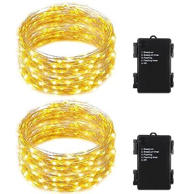 Guirlande Lumineuses 10M 100 LEDs Batterie - RcStarry(TM) 2 Paquets 10M 100 LEDs Super Belle Doux Fil de D'argent Guirlande Lumineuse Batterie à Minuteur,Décoration Chambre Maison Romantique de pour Fête F