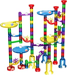 Marble Run Set, 127 Pcs Marble Race Track for Kids with Glass Marbles Upgrade Marble Works Set
