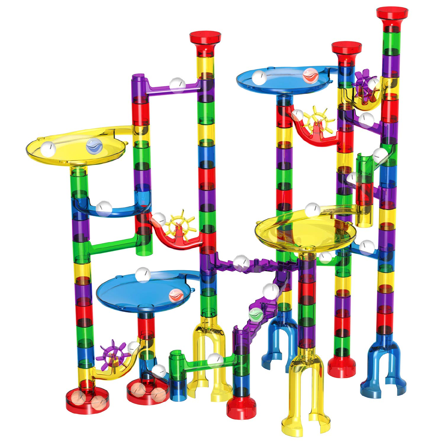 Marble Run Set, Glonova 127 Pcs Marble Race Track for Kids with Glass Marbles Upgrade Marble Works Set