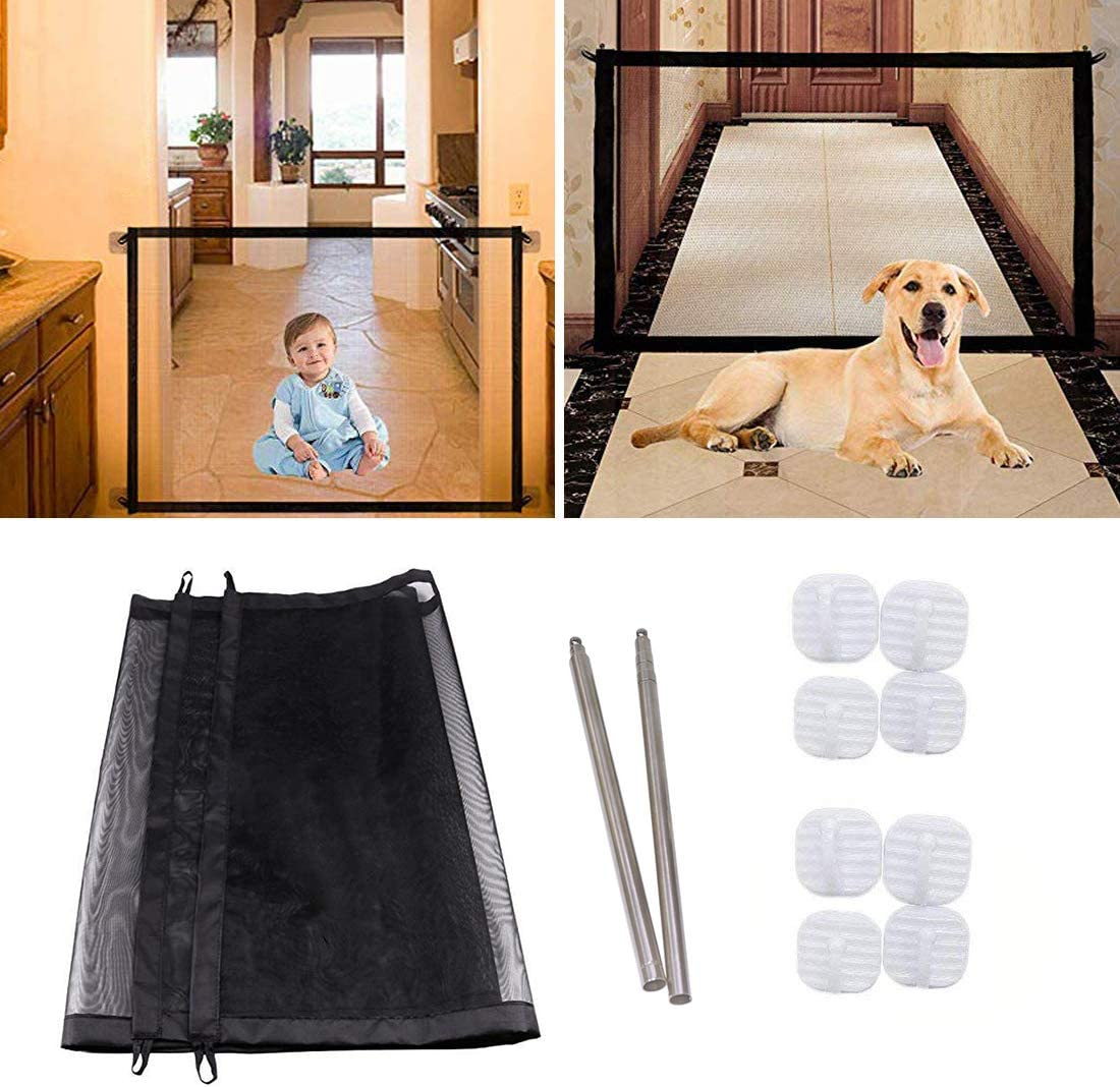 Hcpet Puerta de Seguridad para Mascotas, Magic Gate Pet Seguridad recinto portátil Plegable Mascota Aislante Red de Seguridad para Mascotas Perro Gato