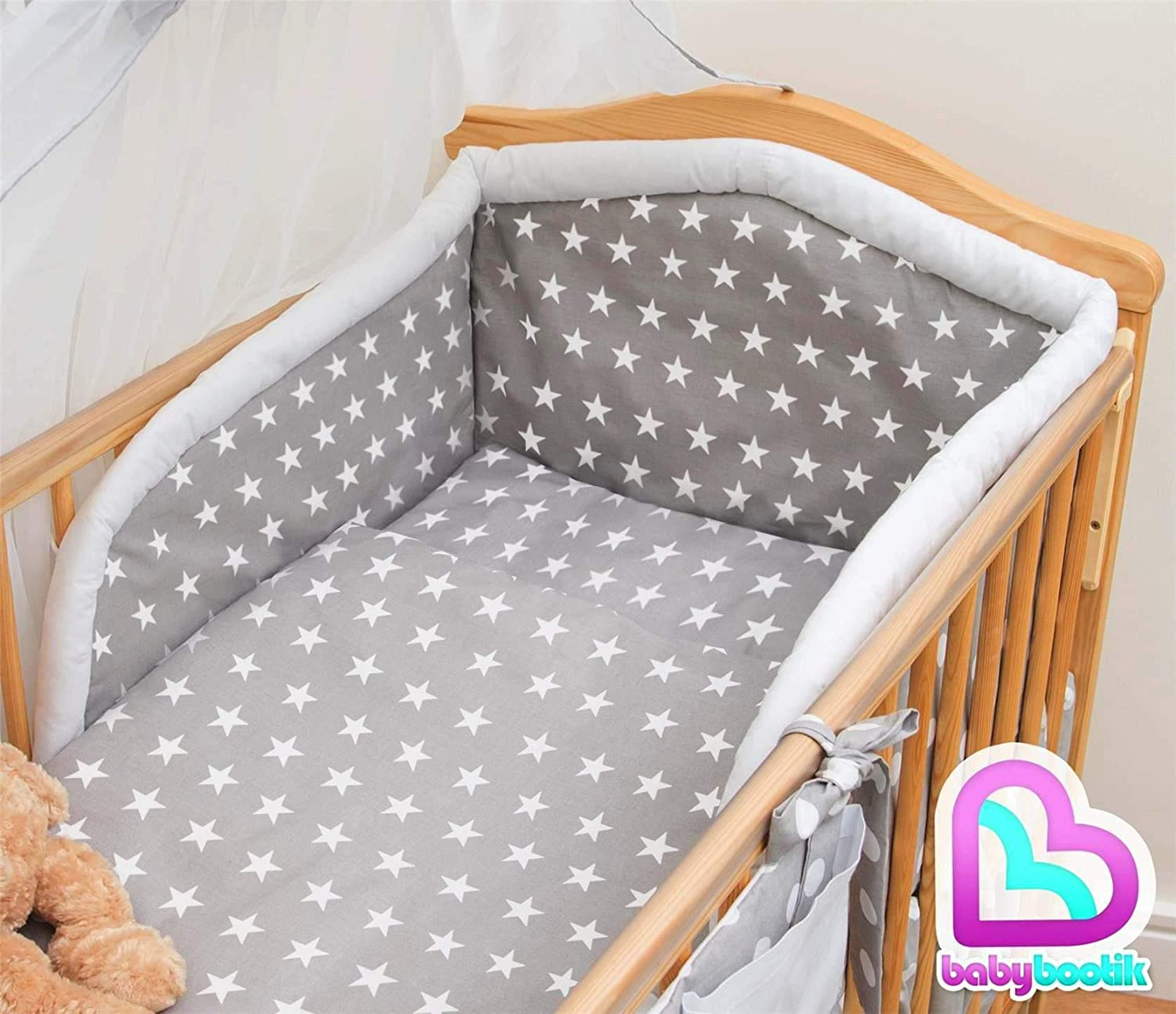 Blue 5 Piece Nursery Baby Bedding Set with Quilt and Padded Bumper fits 120x60 cm Cot