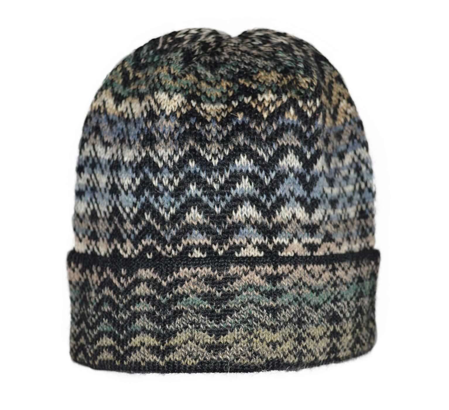 Invisible World Women's 100% Alpaca Wool Hat Knit Unisex Beanie Winter Noelle Blue Medium