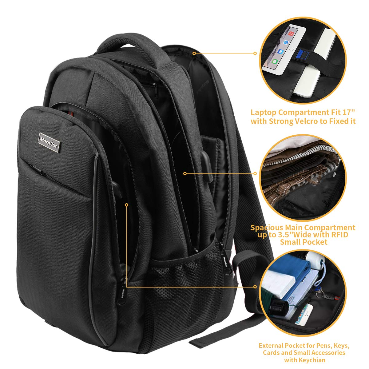 Men' s Business Laptop Backpack, Large Black Anti Theft Waterproof Computer Backpack with USB Charging Port and Night Light Reflective Design for Outdoor Travel, College School