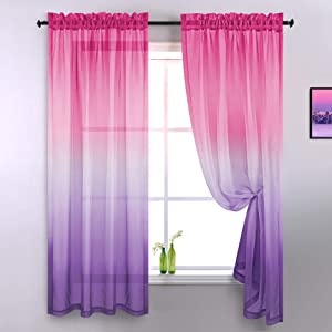 Pink and Purple Curtains for Girls Room Decor Set 2 Panels Rod Pocket Window Lace Sheer Ombre Gradient Girls Furnitures for Bedroom Kids Children Teen Princess Decoration 84 Inch Length Lilac Lavender