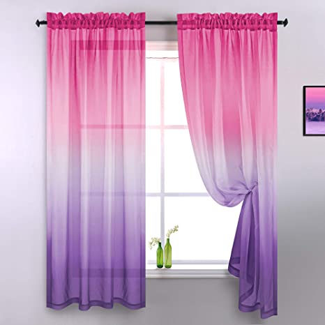 Amazon Com Purple And Pink Sheer Curtains For Girls Bedroom Room Decor 2 Panels Rod Pocket Faux Linen Semi Voile Drapes Ombre Window Pastel Curtains For Kids Living Room Decoration Party 52 X